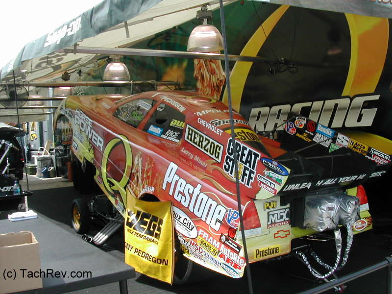 Pedregon - The car bodies are hinged and attached at the rear. That is one of the many reasons they are called: FUNNY CARS aka FLOPPERS!