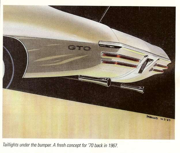 "This illustration of the ""taillights under bumper design"" provide a possible 1973-1977 factory rear bumper to a custom conversion idea."