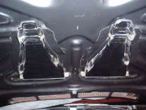 Closeup of engine-side hood structure dual mount of functional Grand Am Ram-Air Induction System