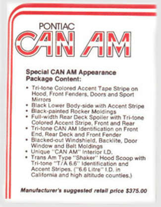 Special CAN AM Appearance Package Content