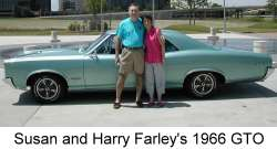 Susan and Harry Farley in front of their 1966 GTO Pontiac driven to the Pontiac show in Dallas