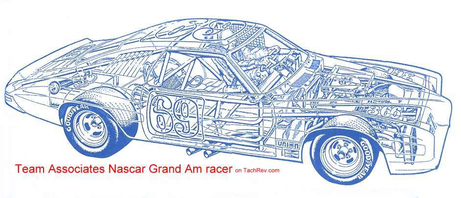 1973 pontiac grand am grand national sedan racer on tachrev this phantom drawing shows the team associates grand am was outfitted for stock car racing malvernweather Choice Image