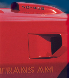 """Infamous 2nd Generation Pontiac Trans Am Fender Extractor relieves the build up of high speed back-pressure aero drag on the firewall and """"extracts"""" hot air from the engine compartment .  And yes - that is the infamous T/A Shaker Scoop with the SD-455 decals"""