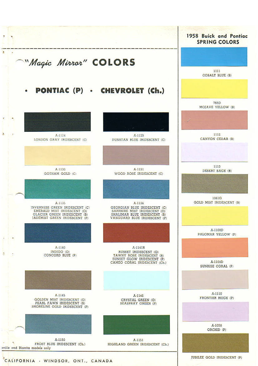 Pontiac Paint Charts Main Reference Page By Tachrev