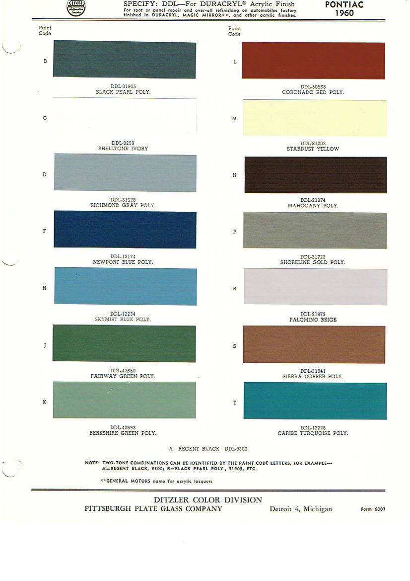 Pontiac Paint Chart on 1982 Oldsmobile 4 Door