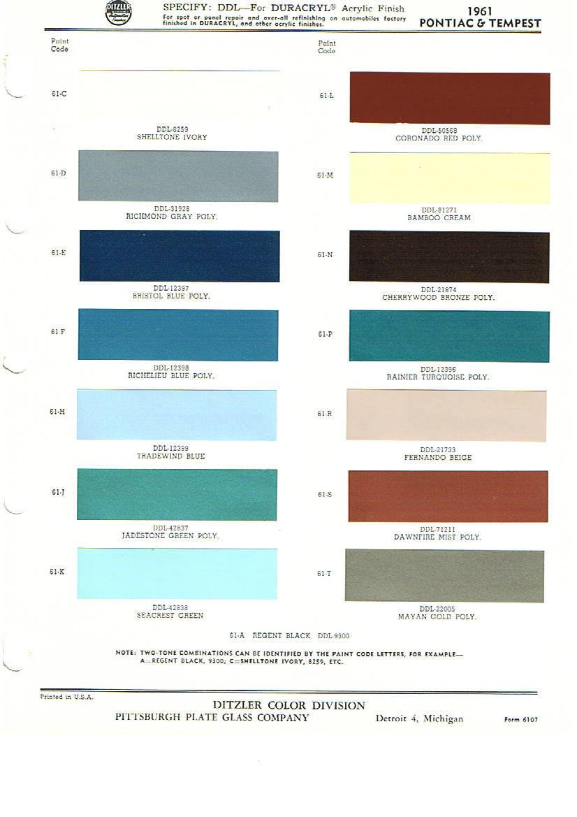 Pontiac paint charts main reference page by tachrev 1961 pontiac paint color codes geenschuldenfo Choice Image
