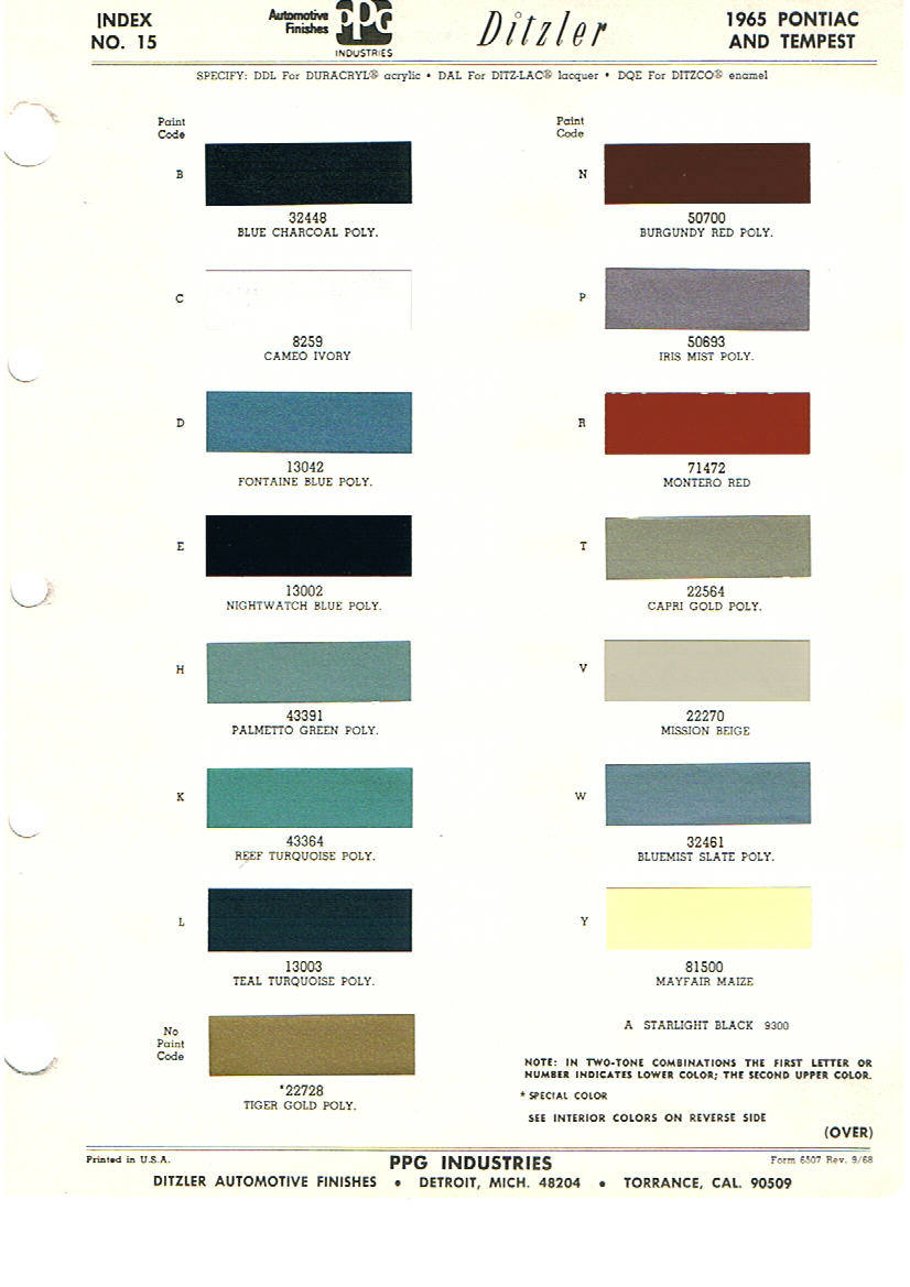 Pontiac Paint Charts Main Reference Page - by TACHREV.COM