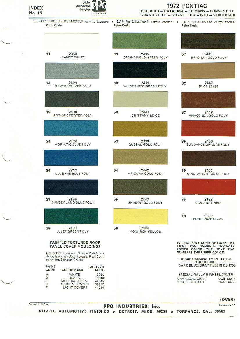 1964 Gto Interior Color Chart Design 3d Dodge Chips Pontiac Paint Charts Main Reference Page By Tachrev Com Rh Corvette