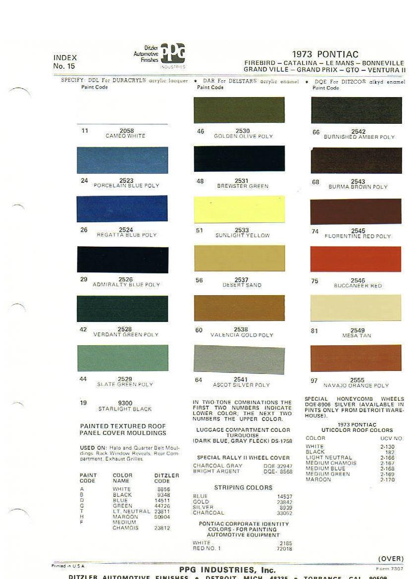 Pontiac Paint Chart