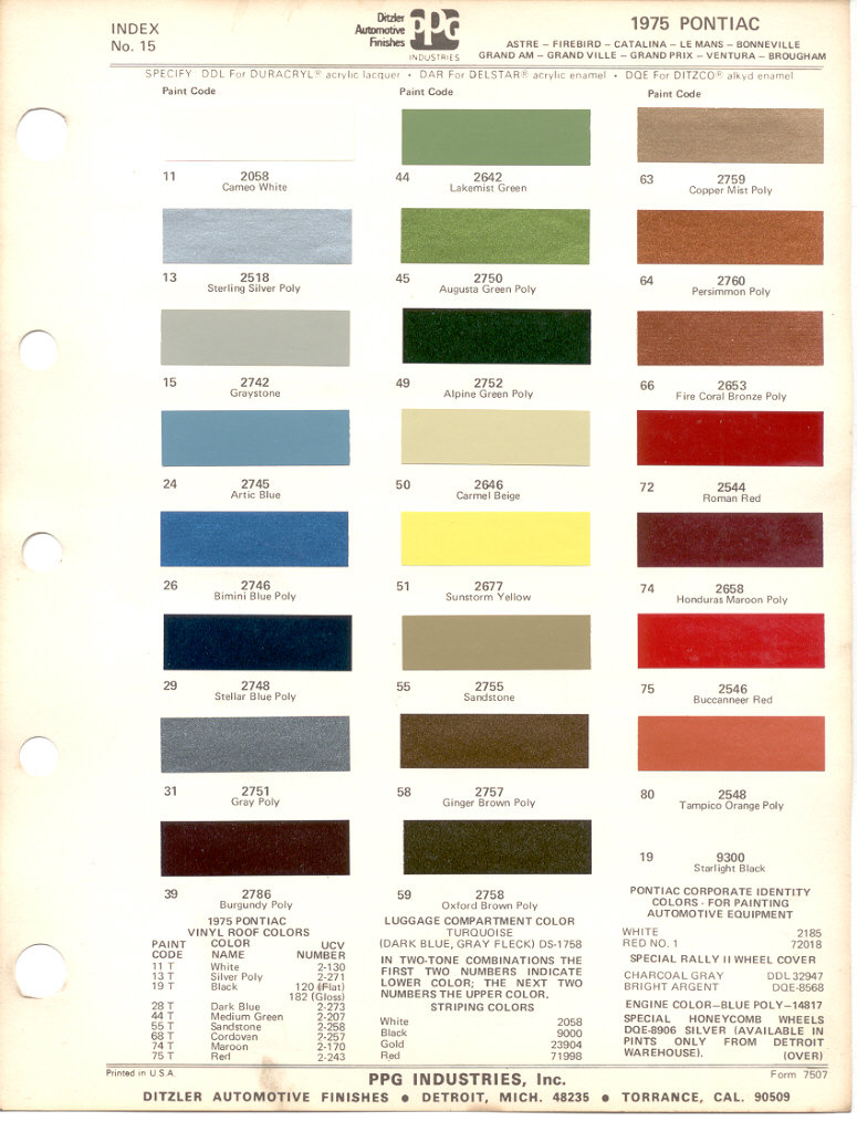 Pontiac Paint Charts Main Reference Page By Tachrev Com