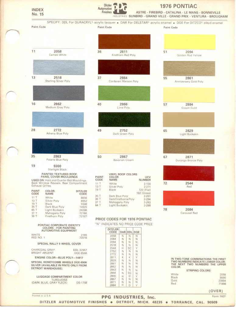 Pontiac paint charts main reference page by tachrev 1976 pontiac paint color codes nvjuhfo Images