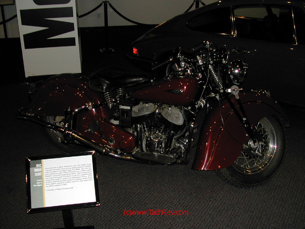 Close-up of another of Steve McQueen's motorcycles - this one a 1942 Indian - on display.