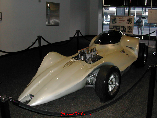Front 3/4 view of the MANTARAY display at The Petersen Automotive Museum