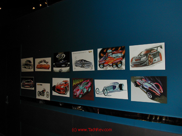 This is how the Hot Wheels® vehicles begin life - as one of the Artwork concept renditions illustrated on the display wall.