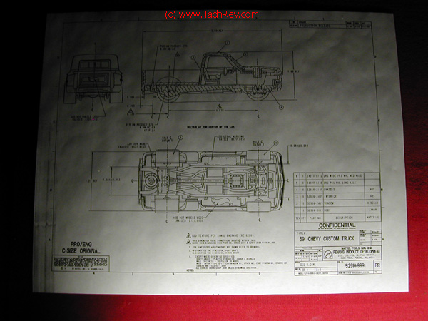 A detailed mechanical drawing for the 69 Chevy Custom Hot Wheels® truck.