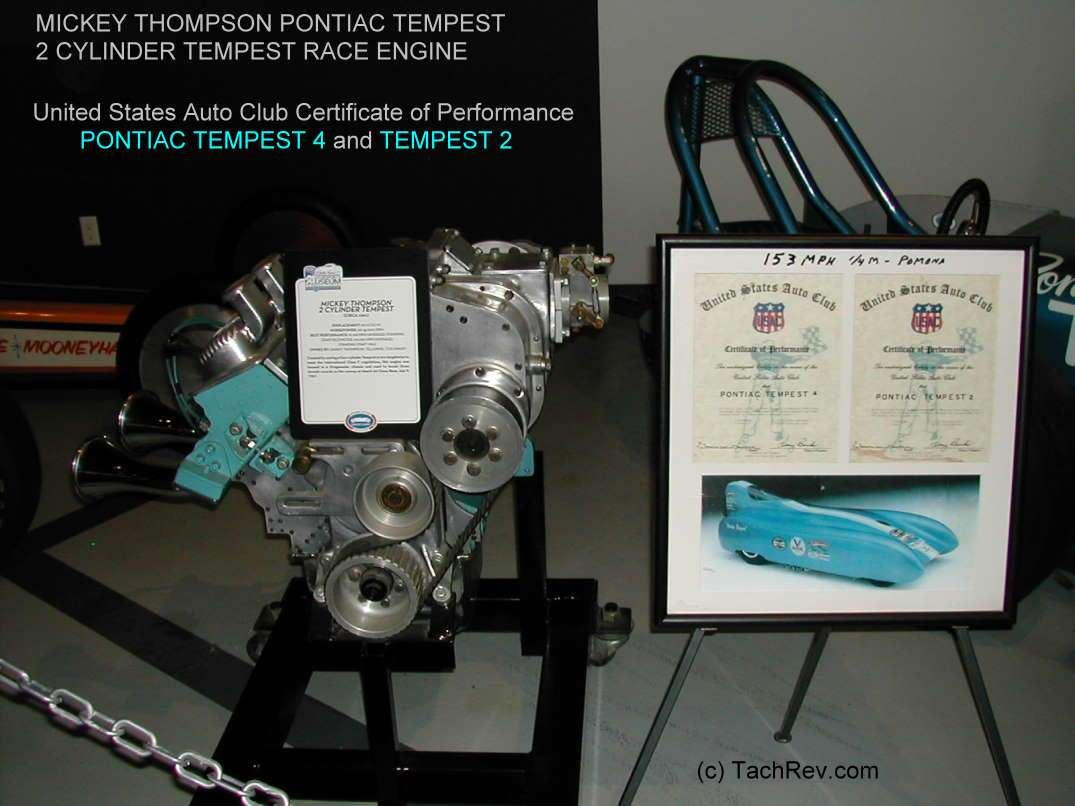 MICKEY THOMPSON PONTIAC TEMPEST 4 and TEMPEST 2 USAC Performance Certificate