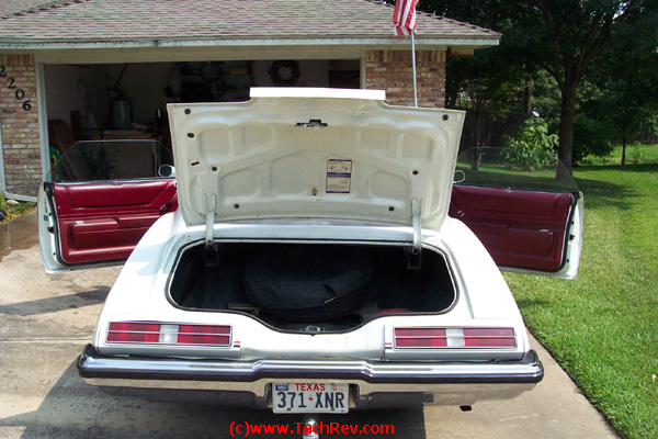 "Rear view image sent to us prior to our trip to buy ""Miss Lilly"" our 1973 Pontiac Grand Am."