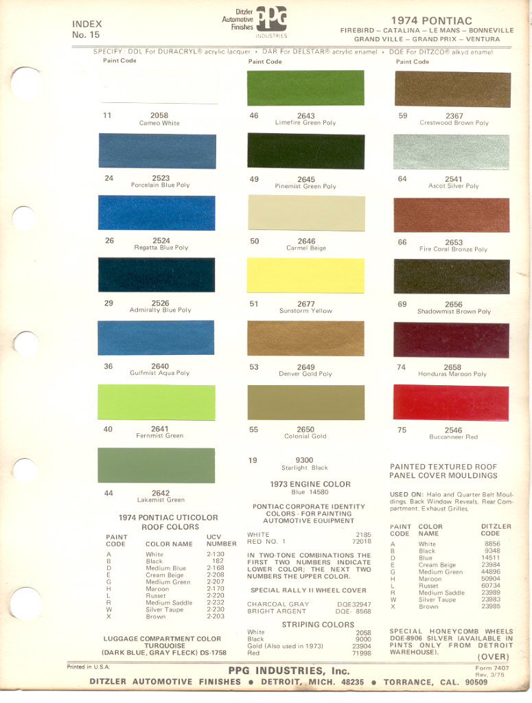 1967 Pontiac Firebird Interior Paint Codes